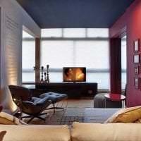 красивый бордовый цвет в интерьере гостиной картинка