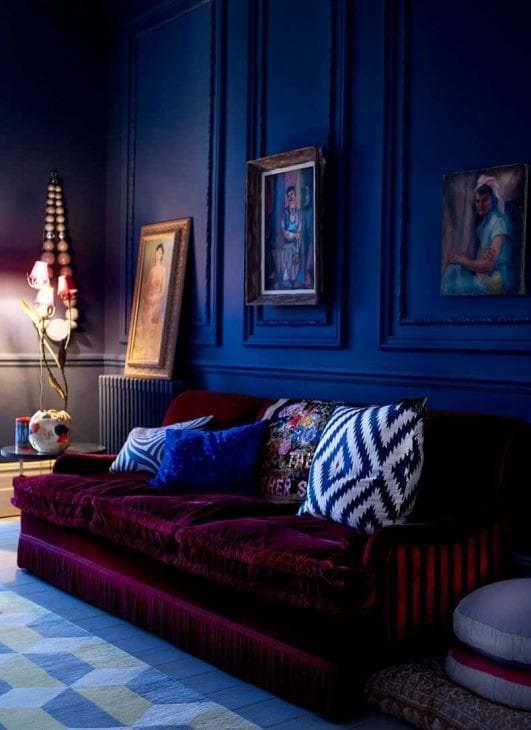 насыщенный бордовый цвет в декоре дома