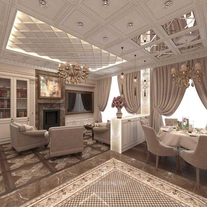 красивый декор элитной кухни в стиле классика