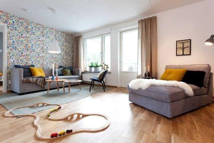 светлый дизайн гостиной в шведском стиле