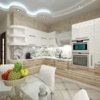 светлый дизайн элитной кухни в стиле классика картинка
