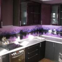 современный дизайн кухни в фиолетовом цвете фото