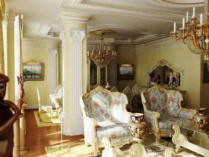 красивый интерьер спальни в стиле барокко