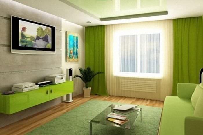 светлый фисташковый цвет в интерьере квартиры