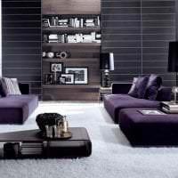светлый интерьер гостиной в фиолетовом цвете фото