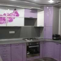 красивый фасад кухни в фиолетовом оттенке фото