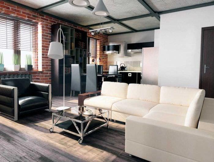 яркий дизайн квартиры в стиле лофт