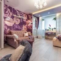 светлый стиль спальни в фиолетовом цвете фото