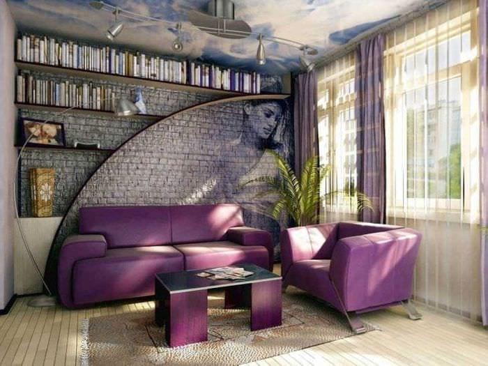 светлый декор гостиной в фиолетовом цвете