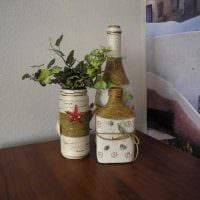 идея оригинального декорирования стеклянных бутылок шпагатом фото