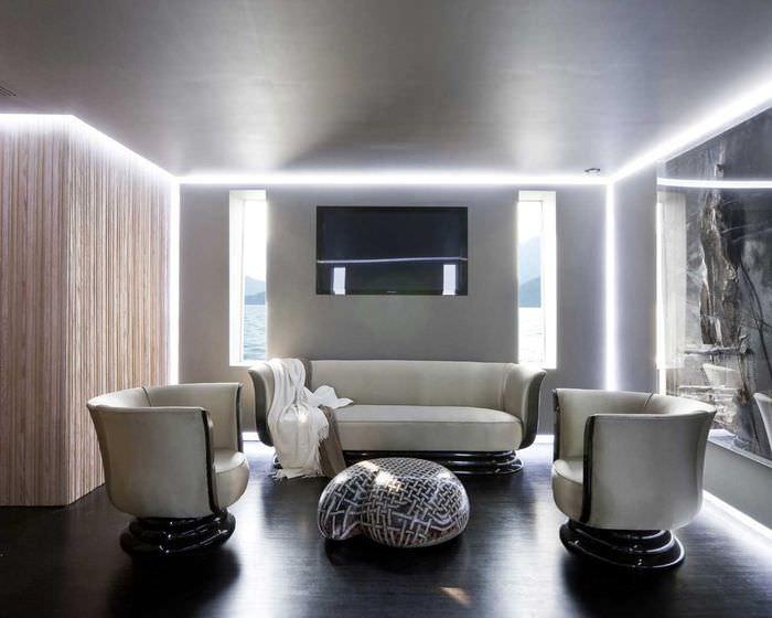 идея цветной led подсветки интерьера