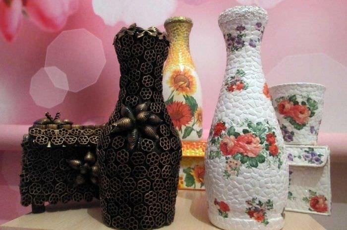 идея необычного декорирования бутылок шпагатом