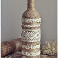 вариант шикарного декорирования бутылок шампанского шпагатом картинка