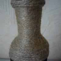 вариант шикарного украшения бутылок шампанского шпагатом фото