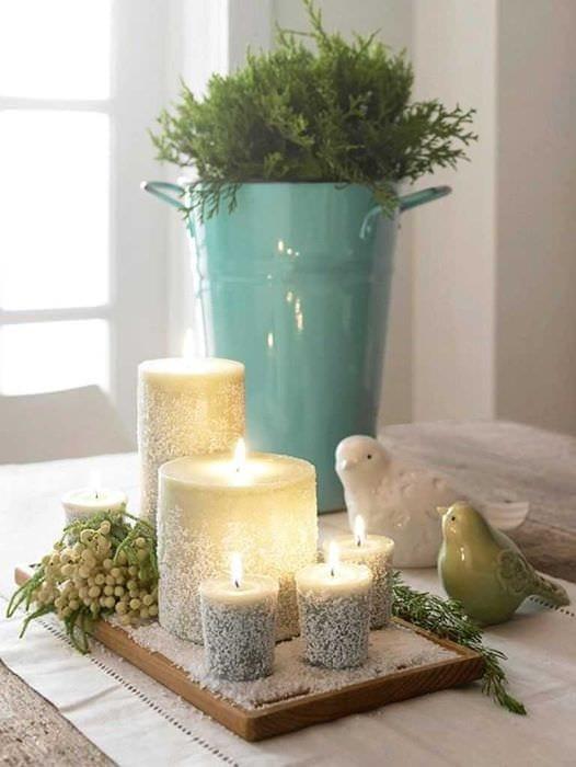 вариант шикарного декорирования свечей своими руками