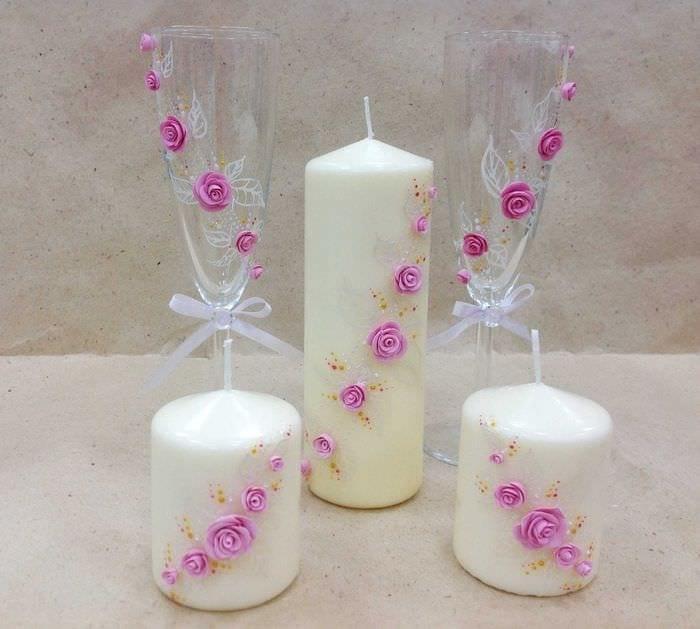 вариант красивого декора свечек своими руками