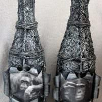 идея оригинального декора стеклянных бутылок из кожи своими руками фото