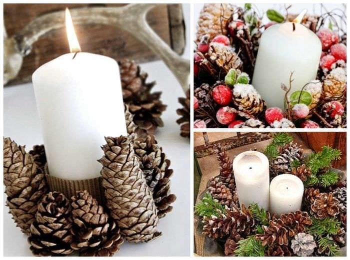 вариант красивого украшения свечек своими руками