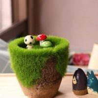 вариант необычного декорирования цветочных горшков картинка