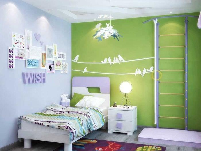 вариант светлого декорирования детской комнаты