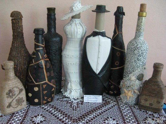 вариант шикарного декорирования бутылок шампанского шпагатом