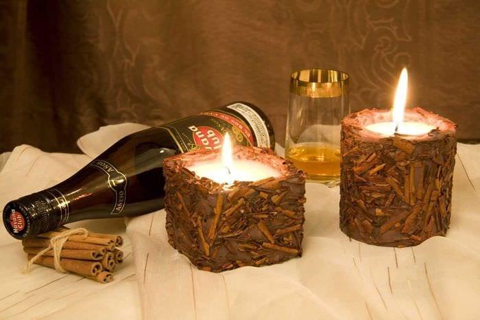 идея шикарного украшения свечек своими руками
