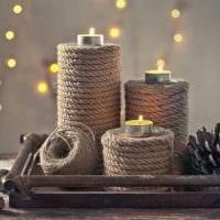 идея светлого декорирования свечек своими руками фото