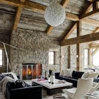 красивый интерьер спальни в стиле рустик фото