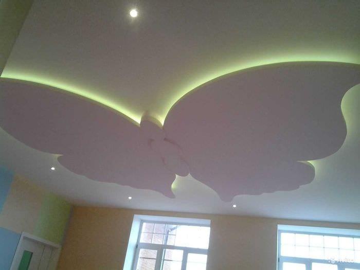 красивое оформление потолка принтом