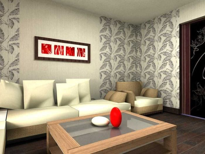 комбинирование красивых обоев в интерьере гостиной