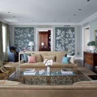 комбинирование светлых обоев в интерьере гостиной картинка