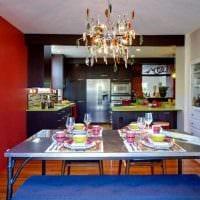 комбинирование ярких цветов в декоре кухни картинка