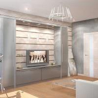 необычный дизайн гостиной со стеновыми панелями фото