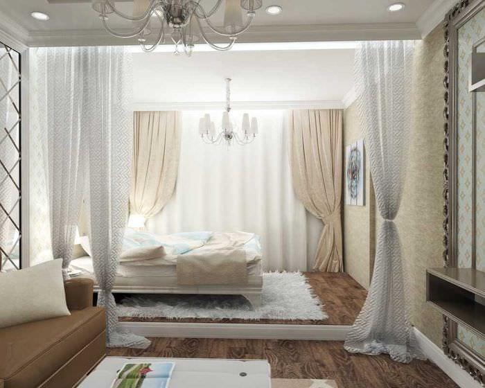 оригинальный стиль спальни и гостиной в одной комнате