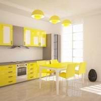 красивый дизайн кухни в горчичном цвете фото
