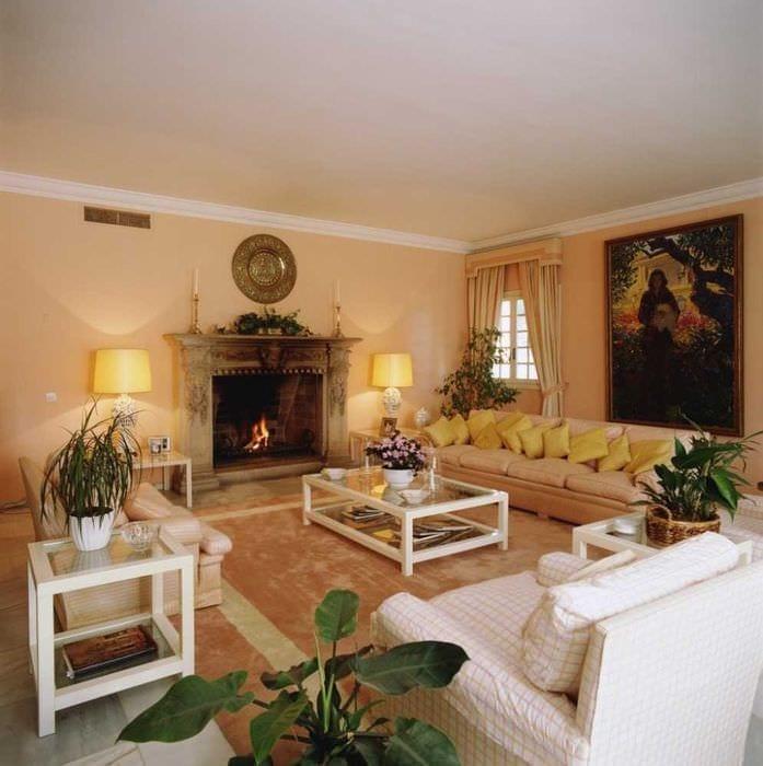 яркий стиль комнаты в горчичном цвете