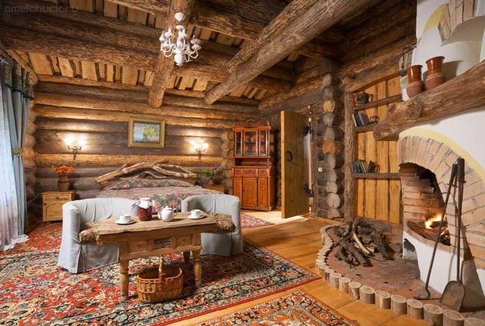 необычный декор спальни в стиле рустик