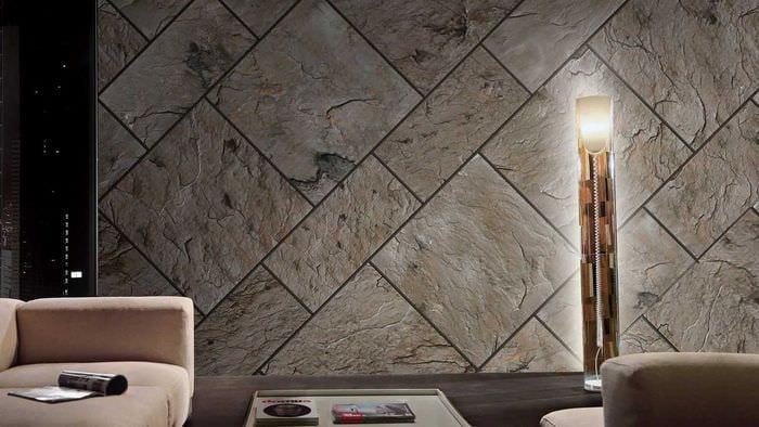 светлый гибкий камень в дизайне гостиной