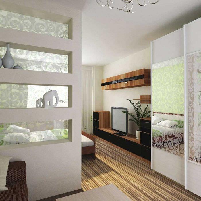 светлый дизайн гостиной спальни