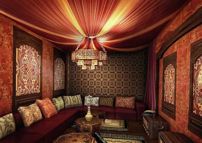 красивый стиль гостиной в восточном стиле