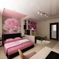 оригинальный стиль спальни и гостиной в одной комнате картинка