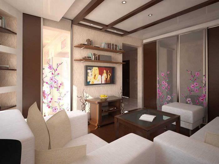 красивый интерьер спальни гостиной