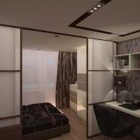 яркий дизайн спальни и гостиной в одной комнате фото