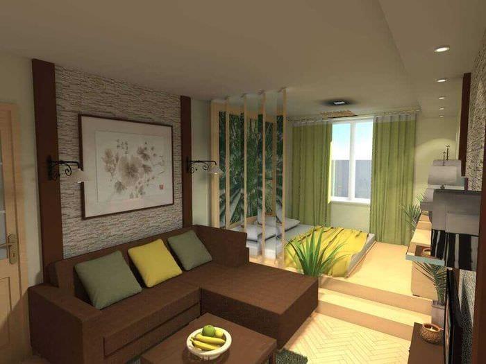 светлый дизайн спальни и гостиной в одной комнате