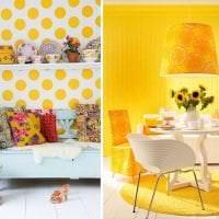 яркий дизайн спальни в горчичном цвете фото