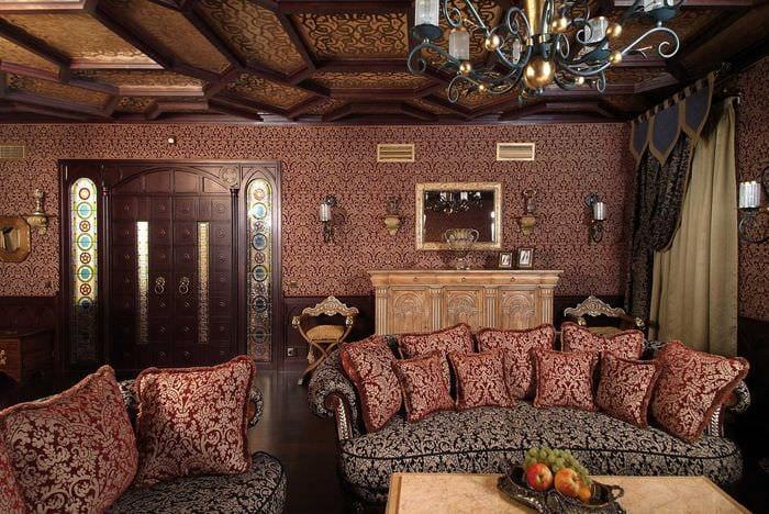 красивый интерьер спальни в готическом стиле