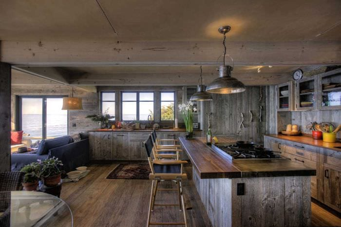 красивый интерьер квартиры в стиле рустик