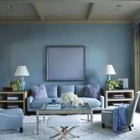 яркий интерьер спальни в голубом цвете картинка