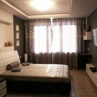 необычный темный пол в дизайне спальни картинка