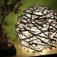светлое декорирование абажура лампы своими руками фото